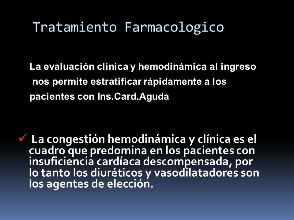 Tratamiento Farmacologico La congestión hemodinámica y clínica es el cuadro que predomina en los pacientes con insuficiencia cardíaca descompensada, p