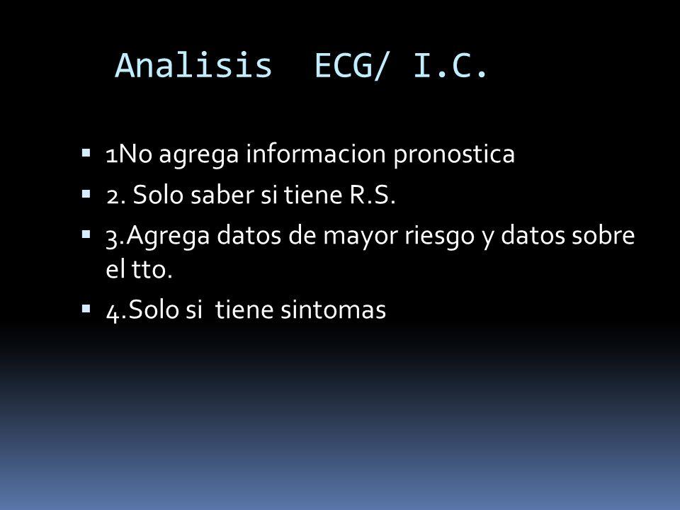 Analisis ECG/ I.C. 1No agrega informacion pronostica 2. Solo saber si tiene R.S. 3.Agrega datos de mayor riesgo y datos sobre el tto. 4.Solo si tiene