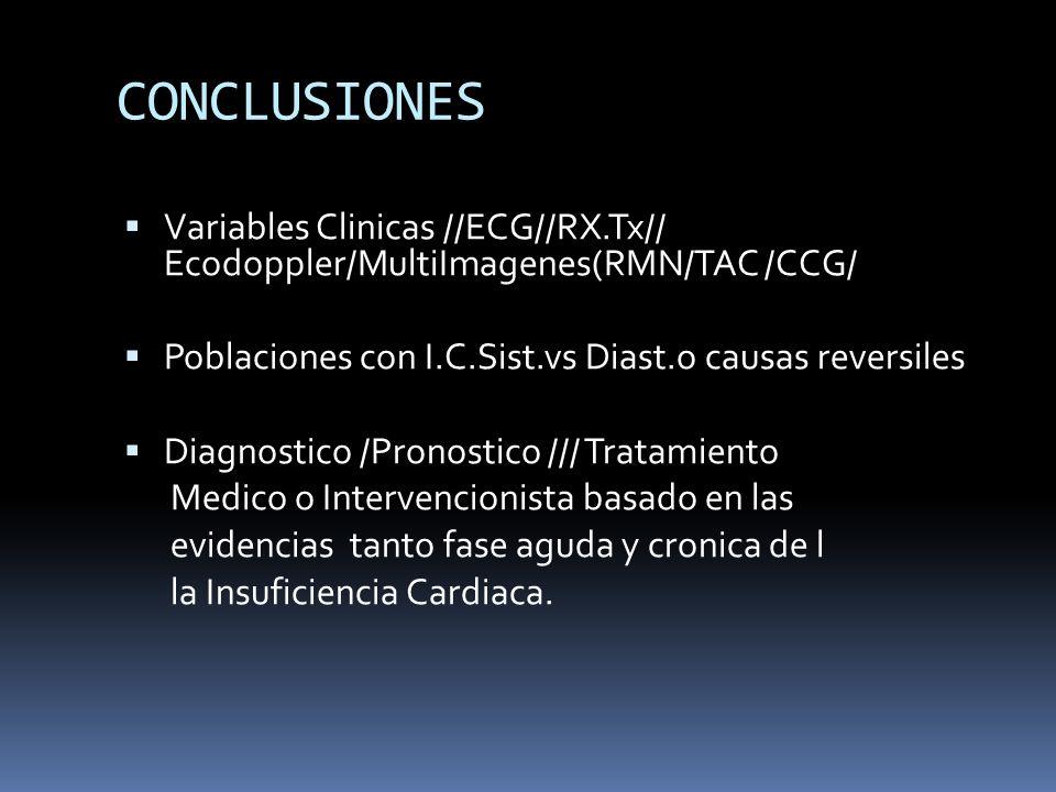 CONCLUSIONES Variables Clinicas //ECG//RX.Tx// Ecodoppler/MultiImagenes(RMN/TAC /CCG/ Poblaciones con I.C.Sist.vs Diast.o causas reversiles Diagnostic