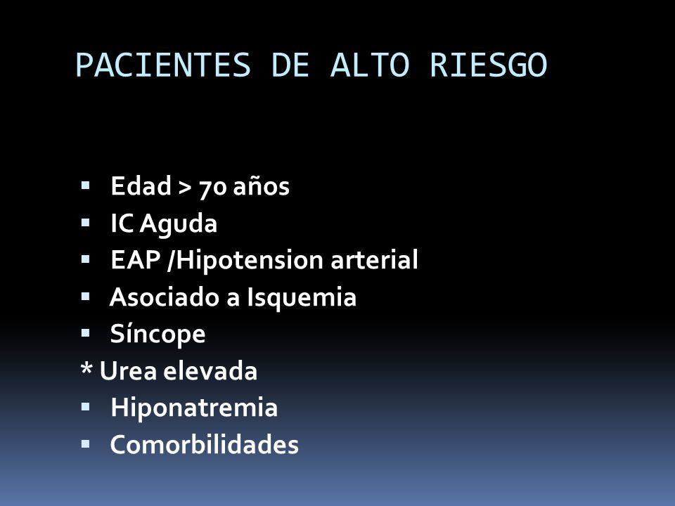 PACIENTES DE ALTO RIESGO Edad > 70 años IC Aguda EAP /Hipotension arterial Asociado a Isquemia Síncope * Urea elevada Hiponatremia Comorbilidades