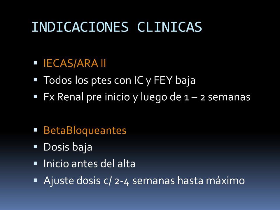 INDICACIONES CLINICAS IECAS/ARA II Todos los ptes con IC y FEY baja Fx Renal pre inicio y luego de 1 – 2 semanas BetaBloqueantes Dosis baja Inicio ant