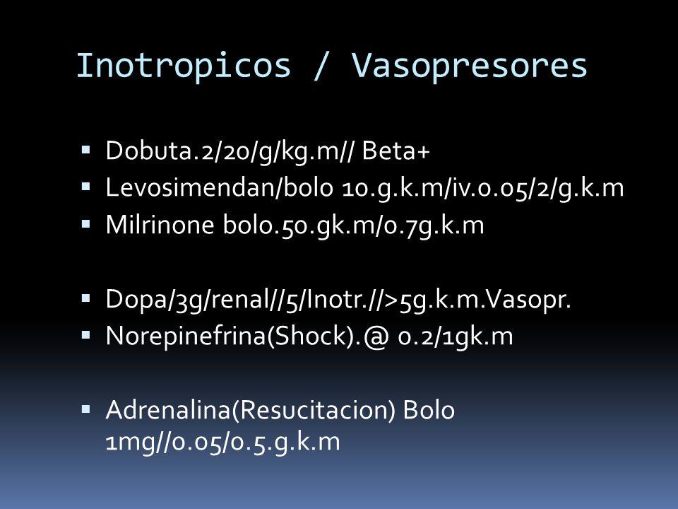 Inotropicos / Vasopresores Dobuta.2/20/g/kg.m// Beta+ Levosimendan/bolo 10.g.k.m/iv.0.05/2/g.k.m Milrinone bolo.50.gk.m/0.7g.k.m Dopa/3g/renal//5/Inot