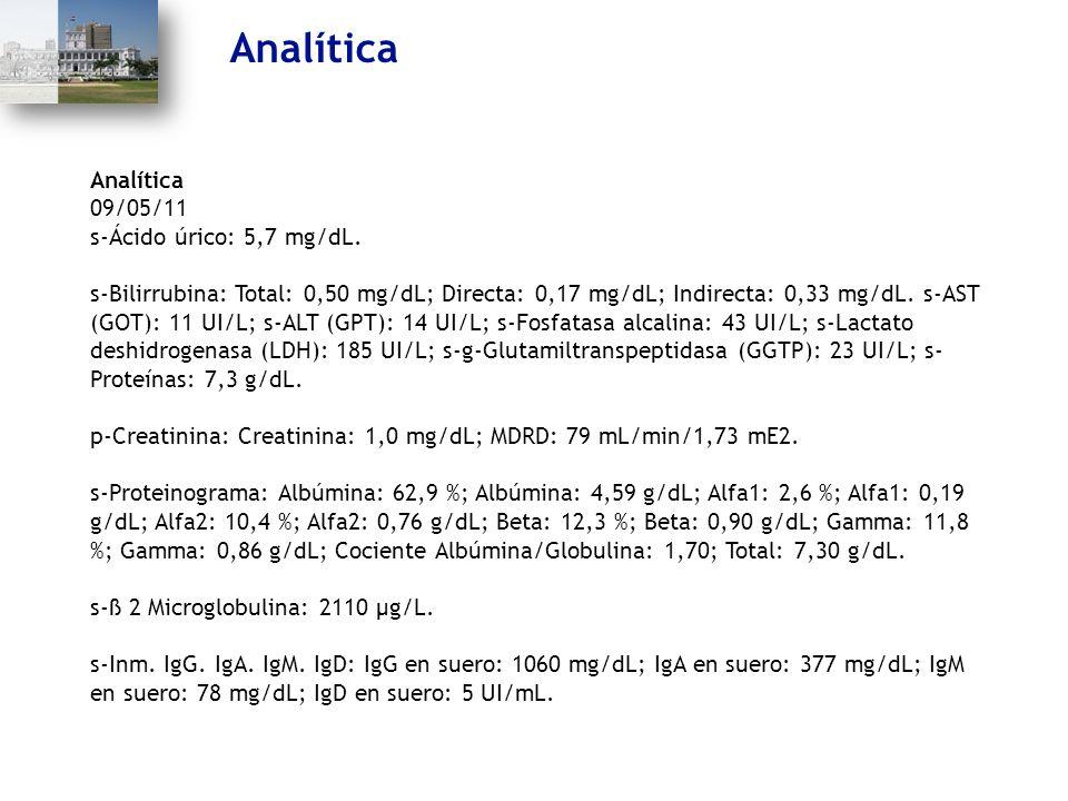 Analítica 09/05/11 s-Ácido úrico: 5,7 mg/dL. s-Bilirrubina: Total: 0,50 mg/dL; Directa: 0,17 mg/dL; Indirecta: 0,33 mg/dL. s-AST (GOT): 11 UI/L; s-ALT