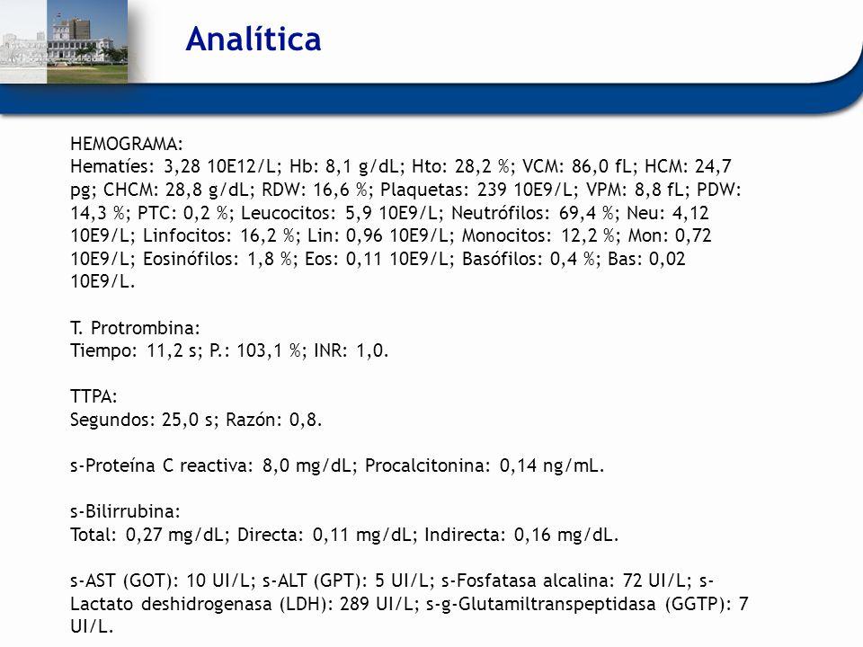 Analítica HEMOGRAMA: Hematíes: 3,28 10E12/L; Hb: 8,1 g/dL; Hto: 28,2 %; VCM: 86,0 fL; HCM: 24,7 pg; CHCM: 28,8 g/dL; RDW: 16,6 %; Plaquetas: 239 10E9/