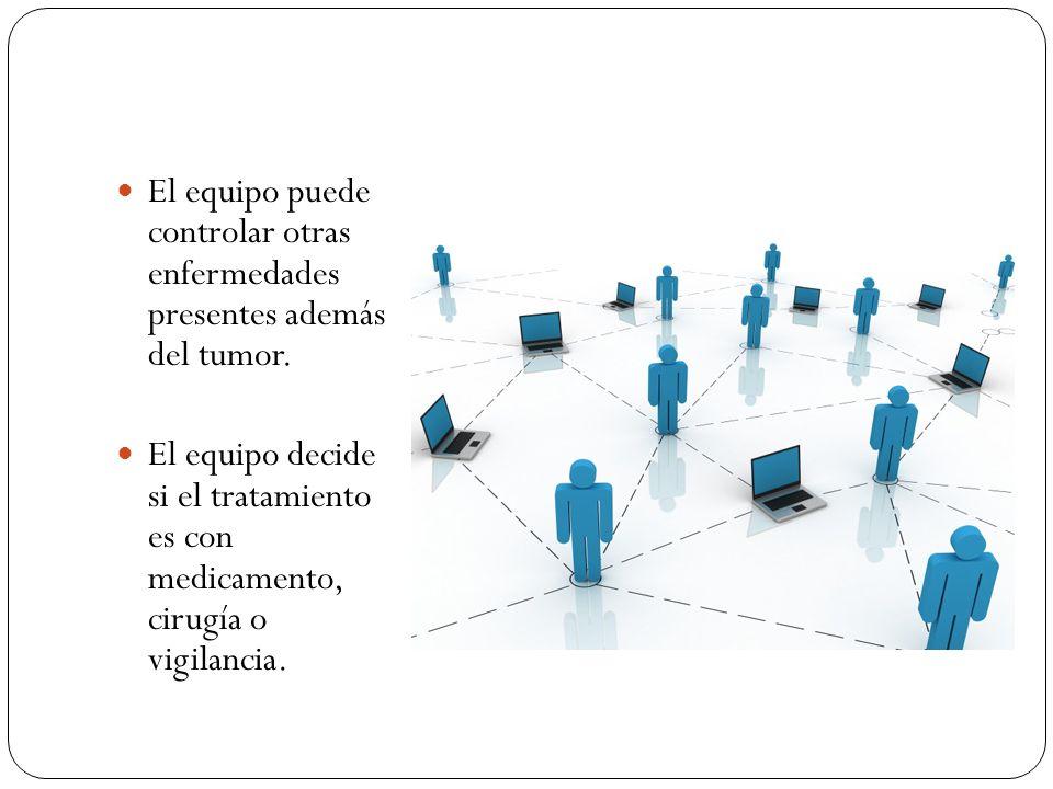 El equipo puede controlar otras enfermedades presentes además del tumor. El equipo decide si el tratamiento es con medicamento, cirugía o vigilancia.