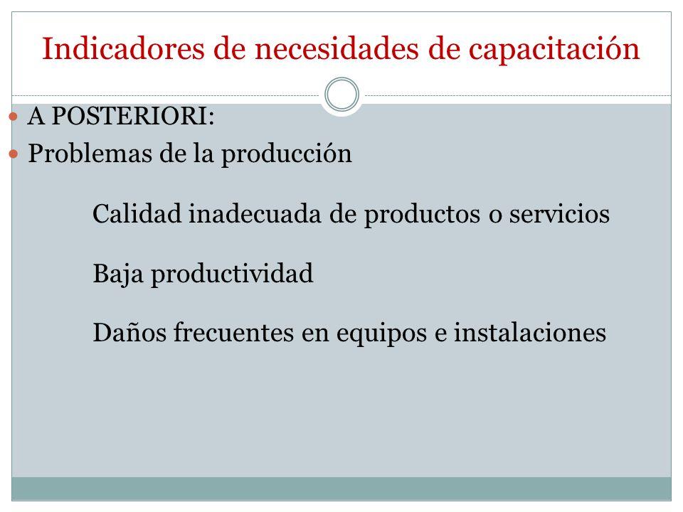 Indicadores de necesidades de capacitación A POSTERIORI: Problemas de la producción Calidad inadecuada de productos o servicios Baja productividad Daños frecuentes en equipos e instalaciones