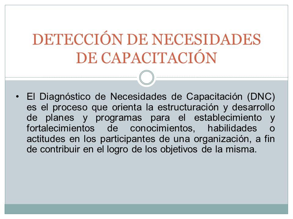 El Diagnóstico de Necesidades de Capacitación (DNC) es el proceso que orienta la estructuración y desarrollo de planes y programas para el establecimi