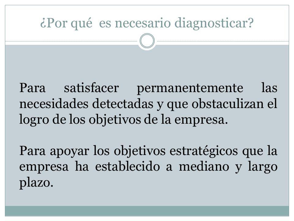 ¿Por qué es necesario diagnosticar? Para satisfacer permanentemente las necesidades detectadas y que obstaculizan el logro de los objetivos de la empr