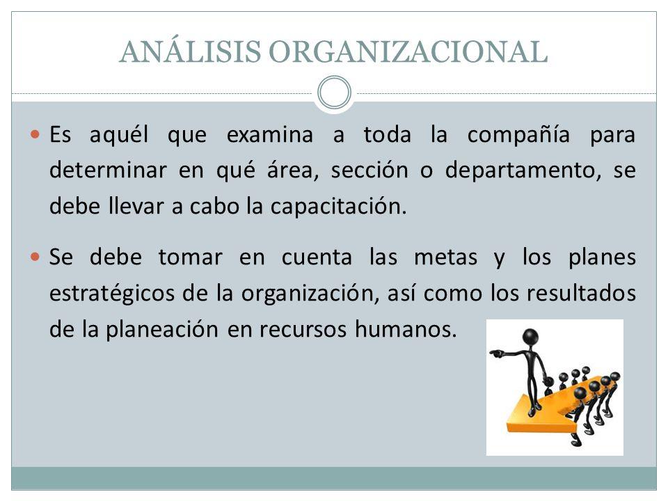 ANÁLISIS ORGANIZACIONAL Es aquél que examina a toda la compañía para determinar en qué área, sección o departamento, se debe llevar a cabo la capacitación.