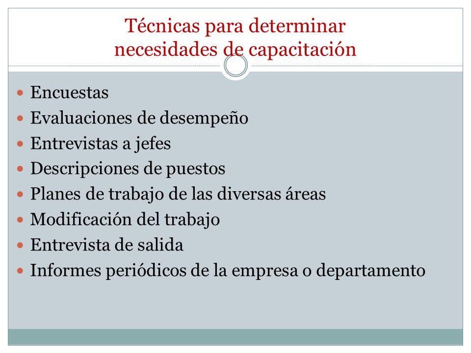 Técnicas para determinar necesidades de capacitación Encuestas Evaluaciones de desempeño Entrevistas a jefes Descripciones de puestos Planes de trabaj