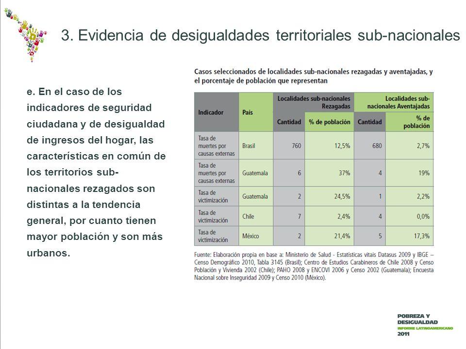 e. En el caso de los indicadores de seguridad ciudadana y de desigualdad de ingresos del hogar, las características en común de los territorios sub- n