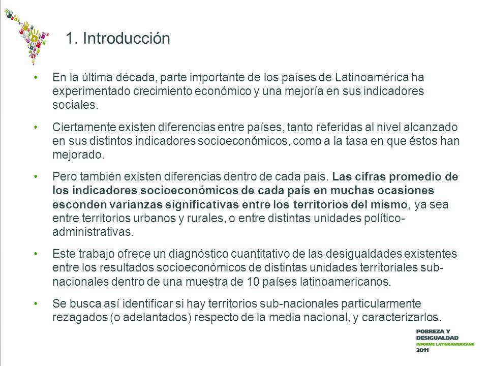 Se recolectó información en 10 países latinoamericanos: Bolivia, Brasil, Chile, Colombia, Ecuador, El Salvador, Guatemala, México, Nicaragua y Perú.