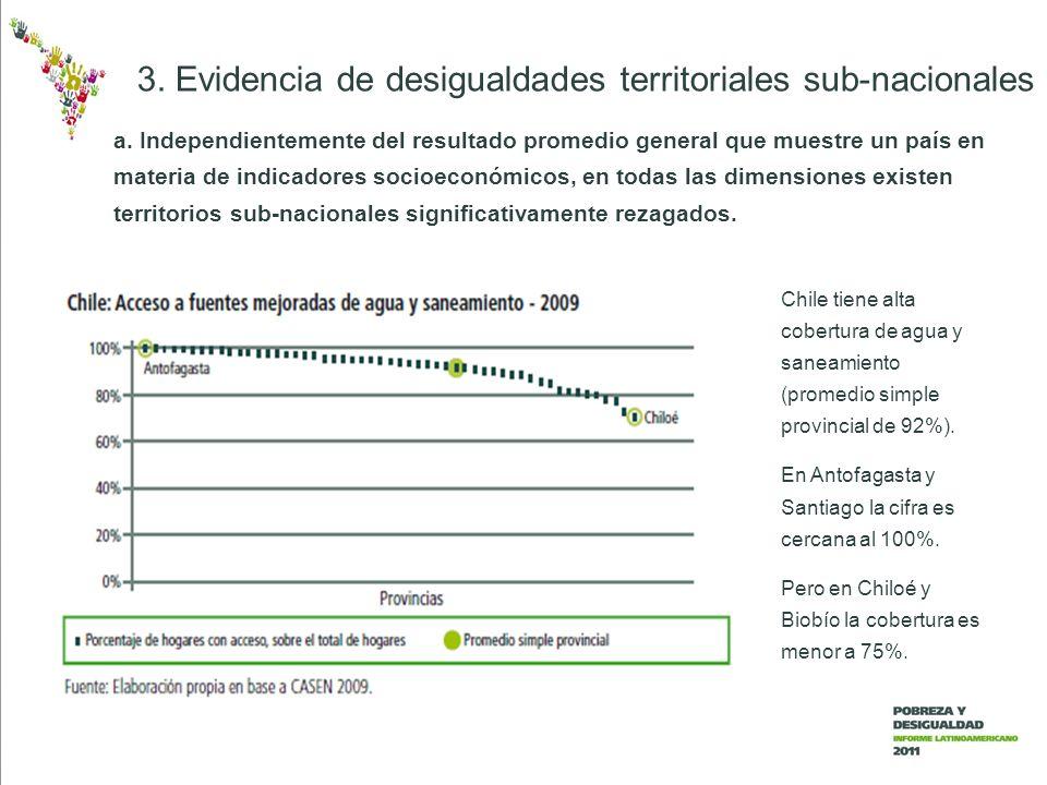 3. Evidencia de desigualdades territoriales sub-nacionales Chile tiene alta cobertura de agua y saneamiento (promedio simple provincial de 92%). En An