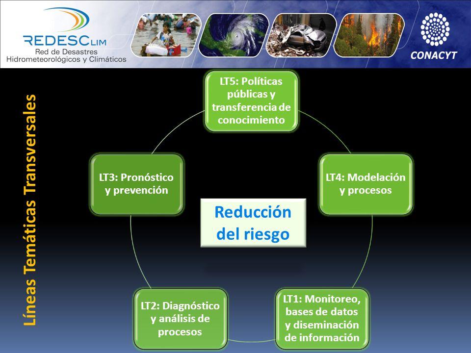 LT5: Políticas públicas y transferencia de conocimiento LT4: Modelación y procesos LT1: Monitoreo, bases de datos y diseminación de información LT2: D