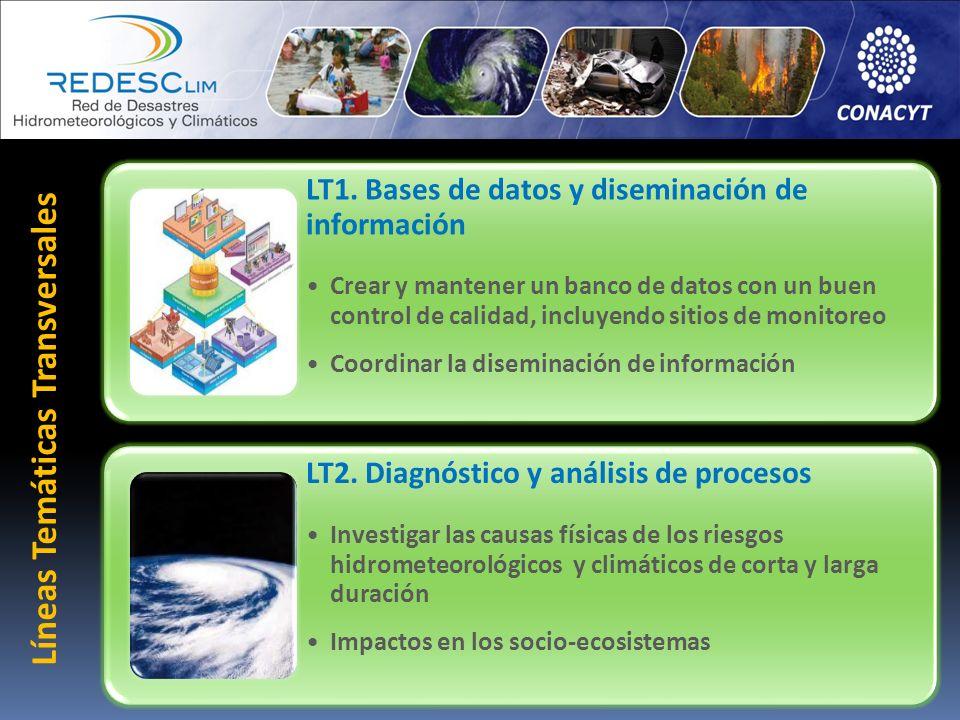 Líneas Temáticas Transversales LT1. Bases de datos y diseminación de información Crear y mantener un banco de datos con un buen control de calidad, in