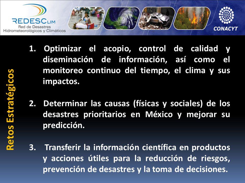 1. Optimizar el acopio, control de calidad y diseminación de información, así como el monitoreo continuo del tiempo, el clima y sus impactos. 2. Deter