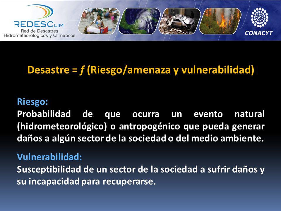 Desastre = f (Riesgo/amenaza y vulnerabilidad) Riesgo: Probabilidad de que ocurra un evento natural (hidrometeorológico) o antropogénico que pueda gen