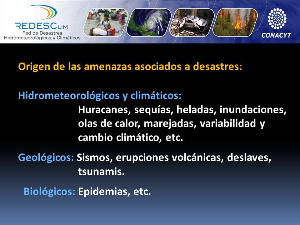 Origen de las amenazas asociados a desastres: Hidrometeorológicos y climáticos: Huracanes, sequías, heladas, inundaciones, olas de calor, marejadas, v