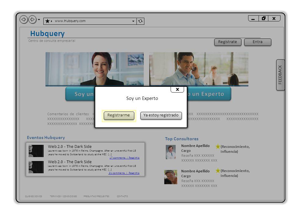 www.Hubquery.com Hubquery QUIENES SOMOSTERMINOS Y CONDICIONES Centro de consulta empresarial Busque expertos por nombre, experticia o ubicación.