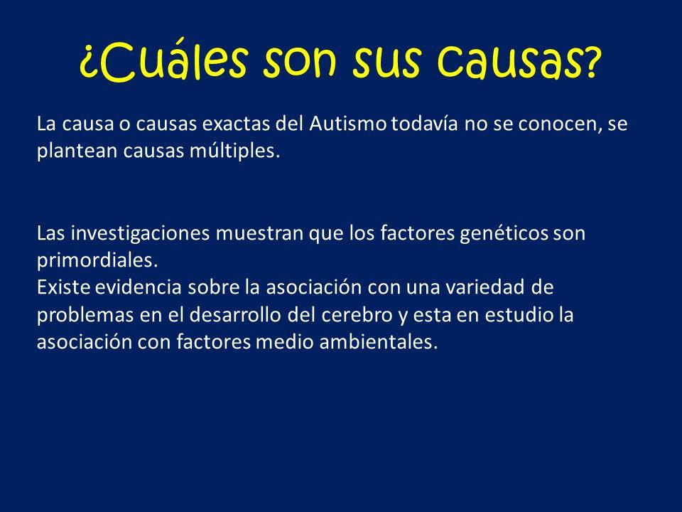 ¿Cuáles son sus causas? La causa o causas exactas del Autismo todavía no se conocen, se plantean causas múltiples. Las investigaciones muestran que lo