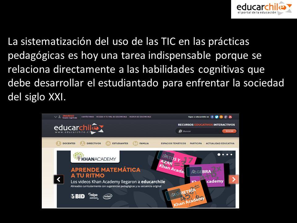 La sistematización del uso de las TIC en las prácticas pedagógicas es hoy una tarea indispensable porque se relaciona directamente a las habilidades cognitivas que debe desarrollar el estudiantado para enfrentar la sociedad del siglo XXI.