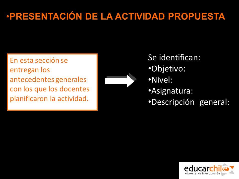 PRESENTACIÓN DE LA ACTIVIDAD PROPUESTA En esta sección se entregan los antecedentes generales con los que los docentes planificaron la actividad.