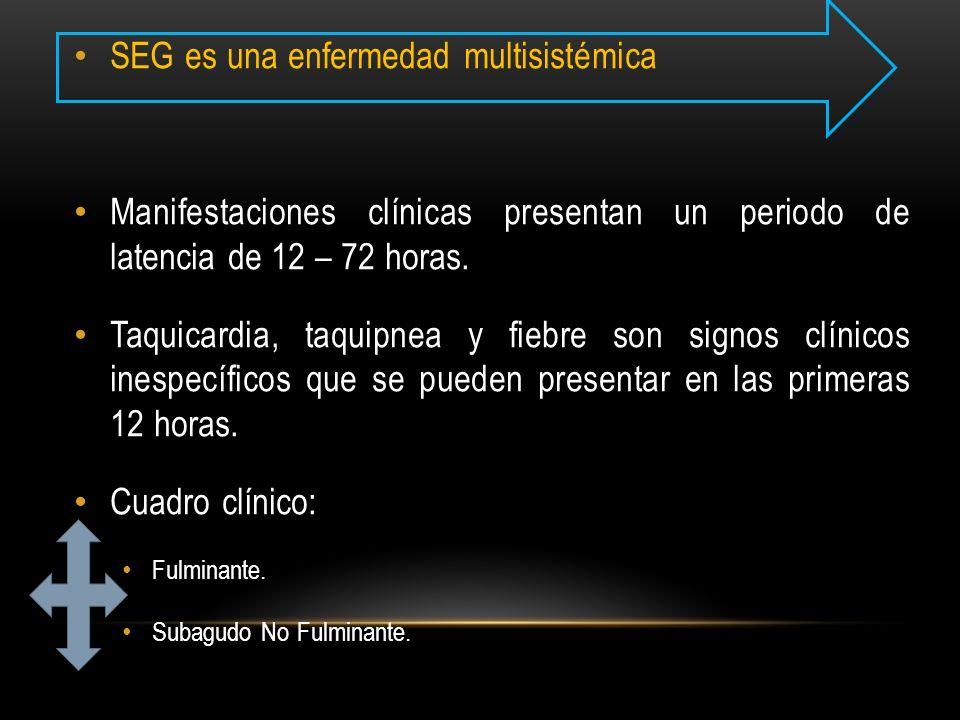 SEG es una enfermedad multisistémica Manifestaciones clínicas presentan un periodo de latencia de 12 – 72 horas. Taquicardia, taquipnea y fiebre son s