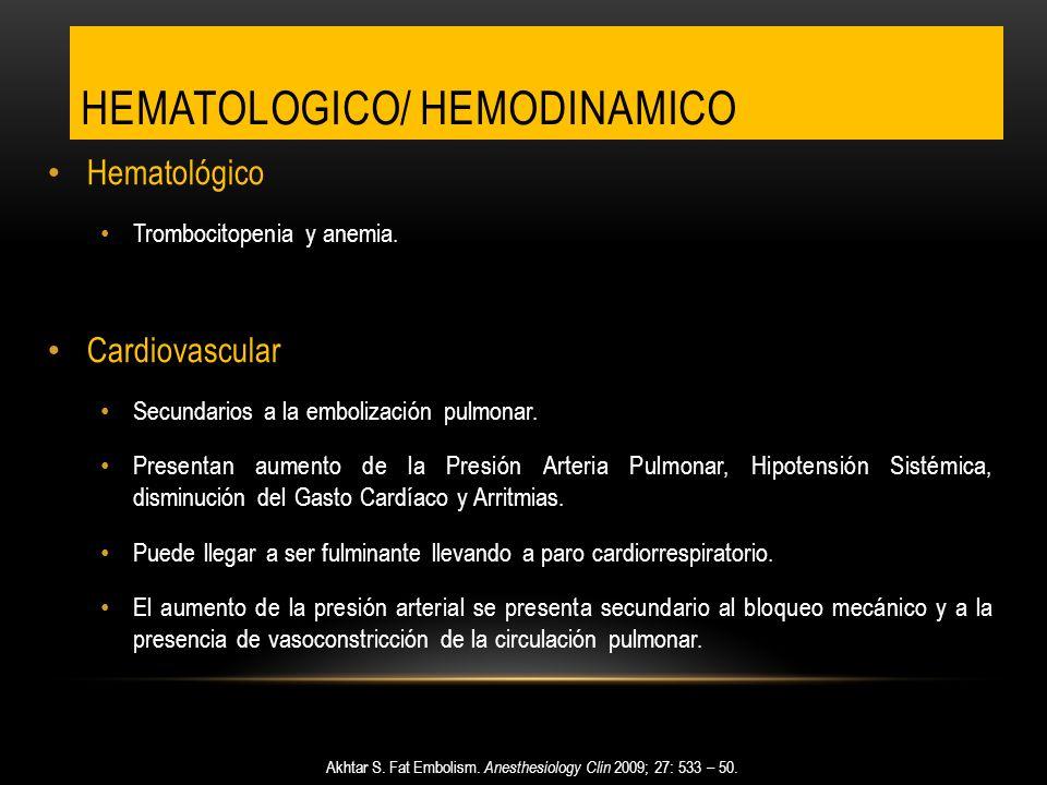 HEMATOLOGICO/ HEMODINAMICO Hematológico Trombocitopenia y anemia. Cardiovascular Secundarios a la embolización pulmonar. Presentan aumento de la Presi