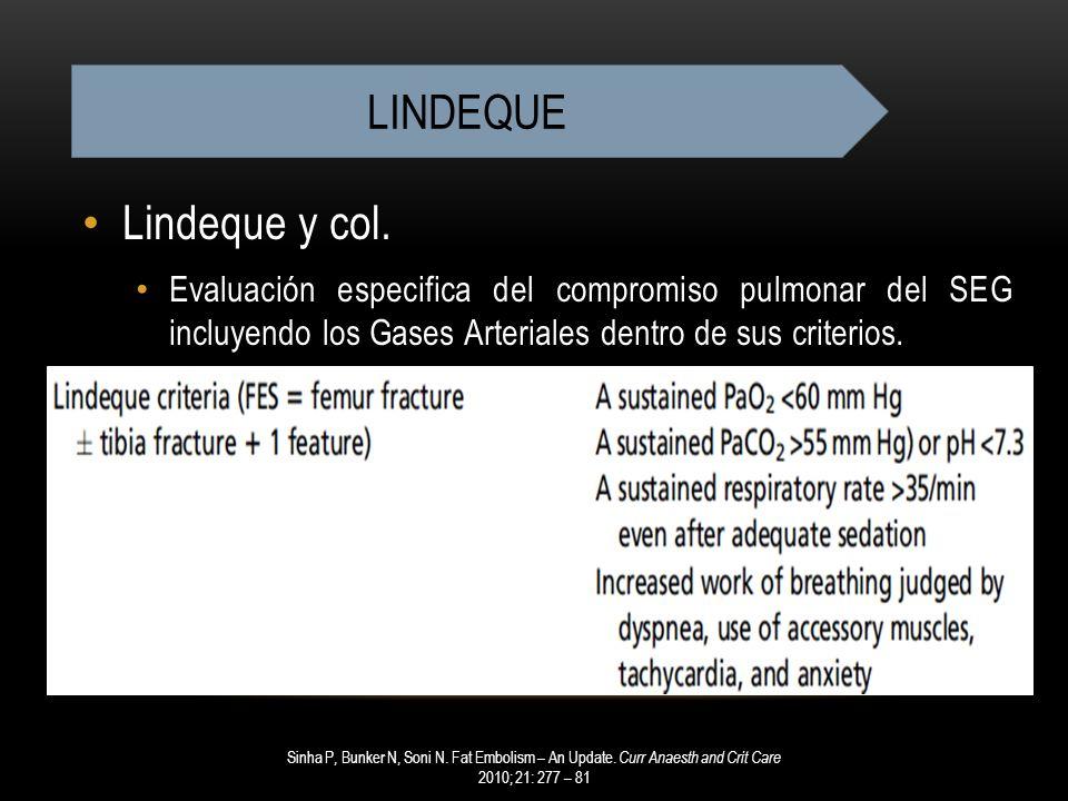 Lindeque y col. Evaluación especifica del compromiso pulmonar del SEG incluyendo los Gases Arteriales dentro de sus criterios. Sinha P, Bunker N, Soni