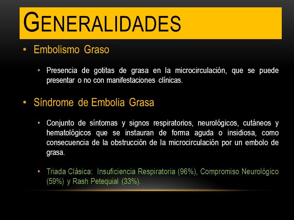 G ENERALIDADES Embolismo Graso Presencia de gotitas de grasa en la microcirculación, que se puede presentar o no con manifestaciones clínicas. Síndrom