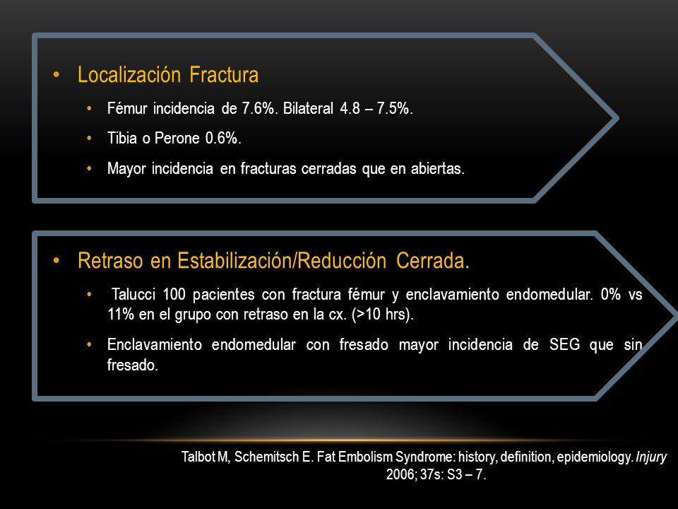 Localización Fractura Fémur incidencia de 7.6%. Bilateral 4.8 – 7.5%. Tibia o Perone 0.6%. Mayor incidencia en fracturas cerradas que en abiertas. Ret