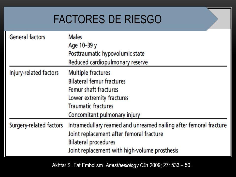 Akhtar S. Fat Embolism. Anesthesiology Clin 2009; 27: 533 – 50. FACTORES DE RIESGO