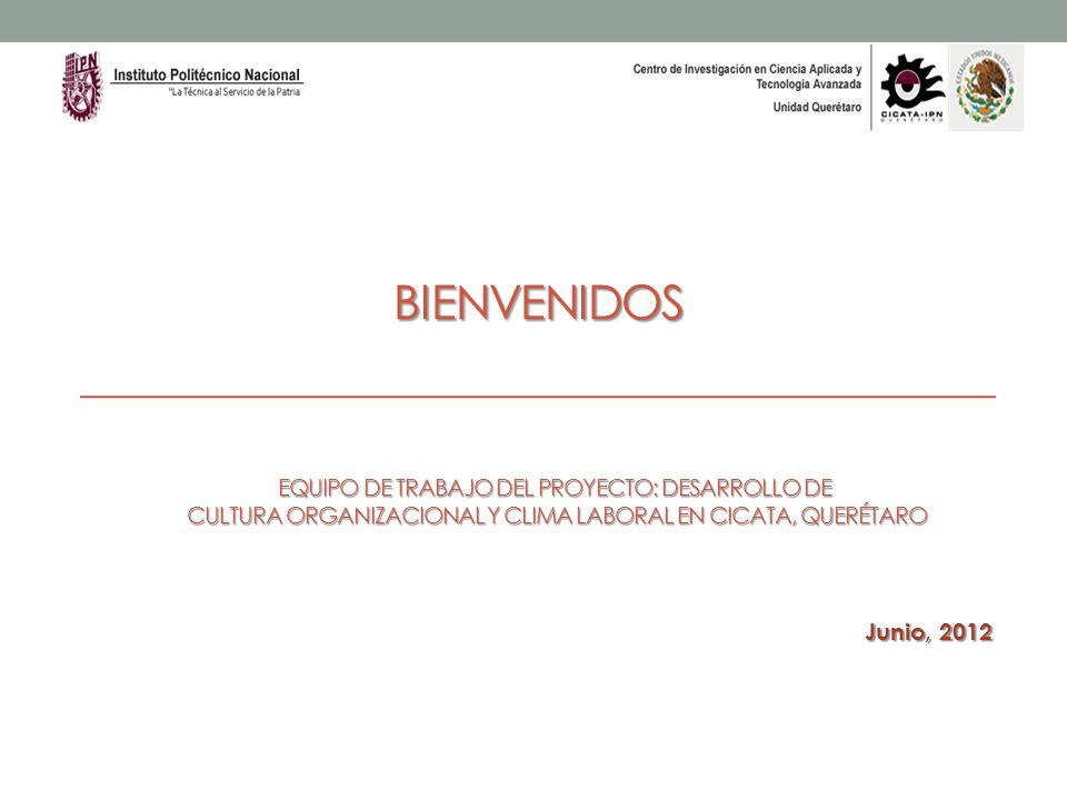 BIENVENIDOS Junio, 2012 EQUIPO DE TRABAJO DEL PROYECTO: DESARROLLO DE CULTURA ORGANIZACIONAL Y CLIMA LABORAL EN CICATA, QUERÉTARO