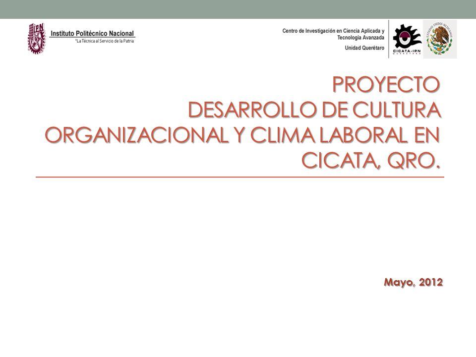 PROYECTO DESARROLLO DE CULTURA ORGANIZACIONAL Y CLIMA LABORAL EN CICATA, QRO. Mayo, 2012
