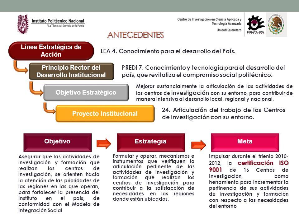 ANTECEDENTES Principio Rector del Desarrollo Institucional Objetivo Estratégico Proyecto Institucional ObjetivoEstrategiaMeta Línea Estratégica de Acc