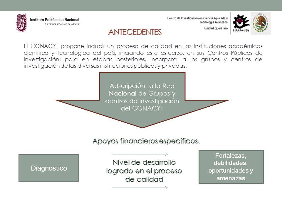 ANTECEDENTES El CONACYT propone inducir un proceso de calidad en las instituciones académicas científica y tecnológica del país, iniciando este esfuer