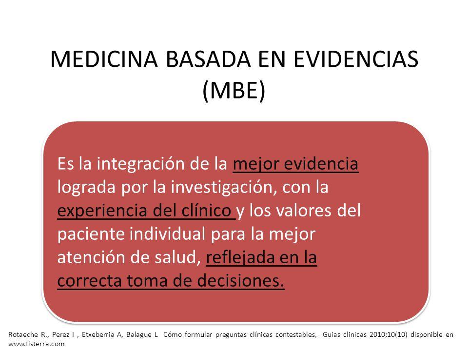 MEDICINA BASADA EN EVIDENCIAS (MBE) Es la integración de la mejor evidencia lograda por la investigación, con la experiencia del clínico y los valores