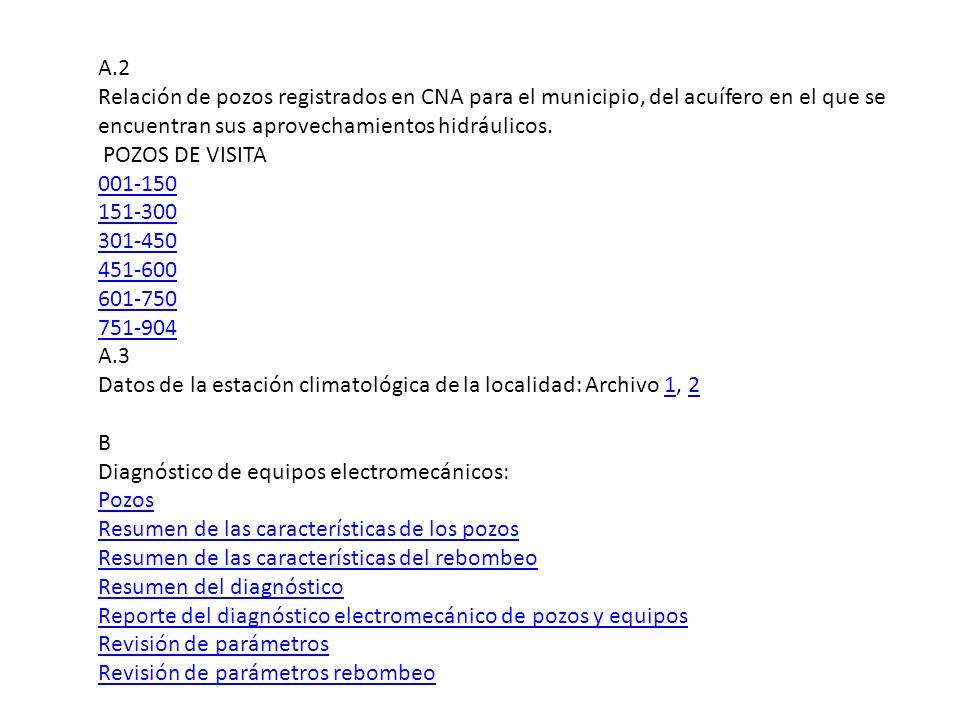 A.2 Relación de pozos registrados en CNA para el municipio, del acuífero en el que se encuentran sus aprovechamientos hidráulicos. POZOS DE VISITA 001