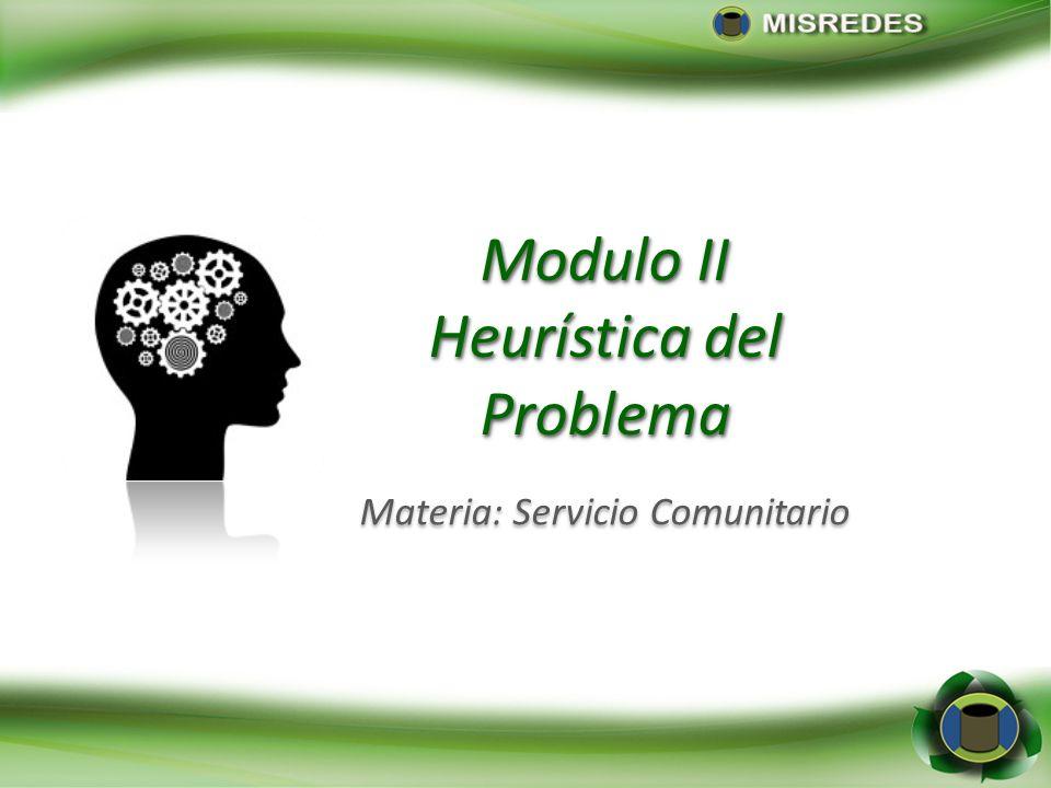 Modulo II Heurística del Problema Modulo II Heurística del Problema Materia: Servicio Comunitario