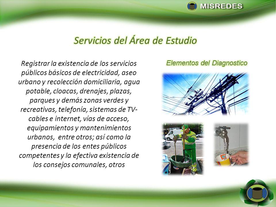 Registrar la existencia de los servicios públicos básicos de electricidad, aseo urbano y recolección domiciliaria, agua potable, cloacas, drenajes, pl