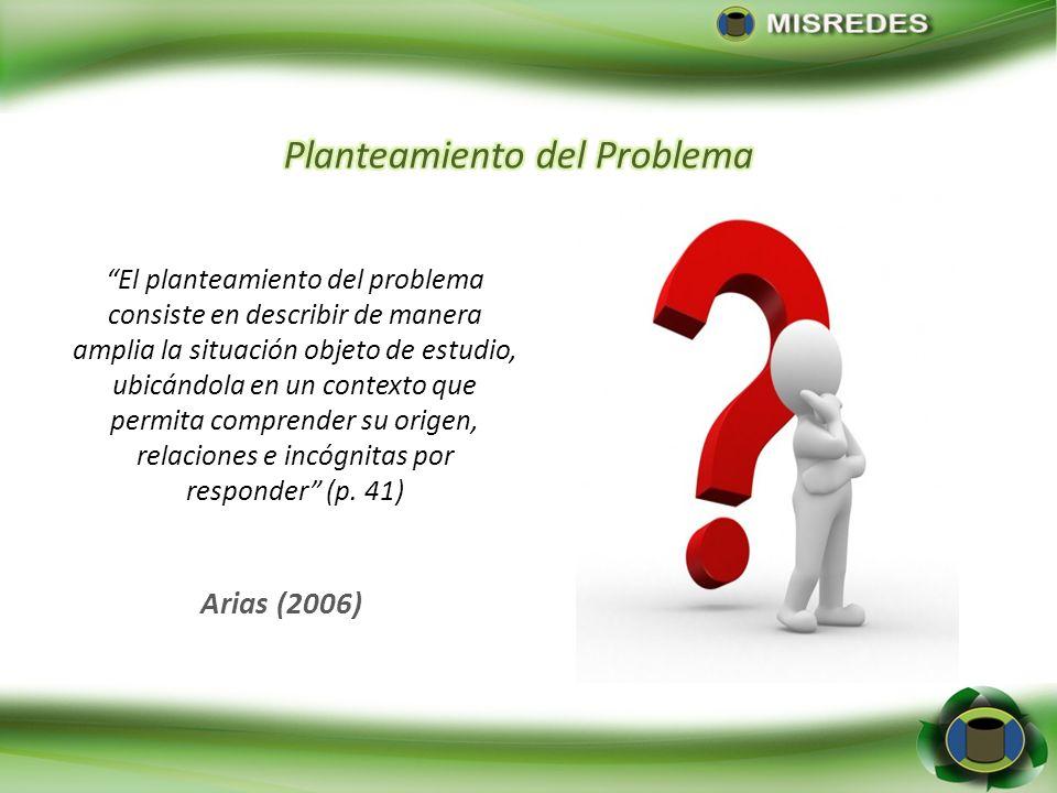 Arias (2006) El planteamiento del problema consiste en describir de manera amplia la situación objeto de estudio, ubicándola en un contexto que permit