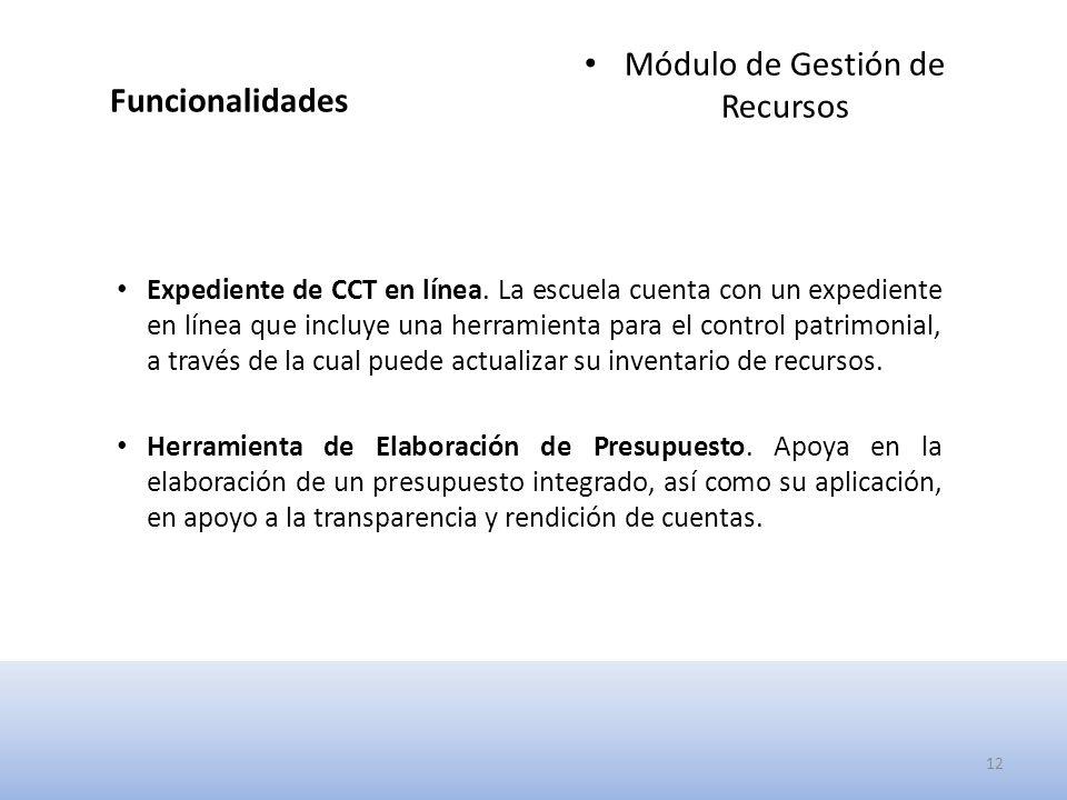 Funcionalidades Módulo de Gestión de Recursos Expediente de CCT en línea.