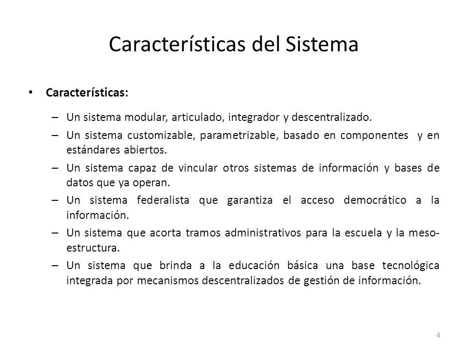 Características del Sistema Características: – Un sistema modular, articulado, integrador y descentralizado.
