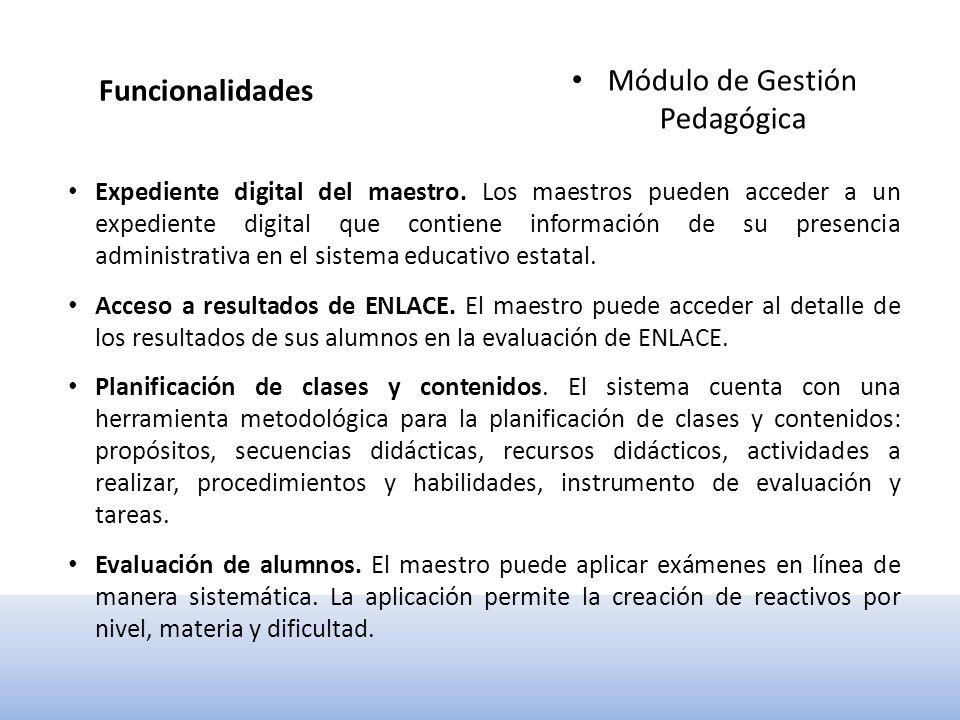 Funcionalidades Módulo de Gestión Estratégica Indicadores de control escolar.