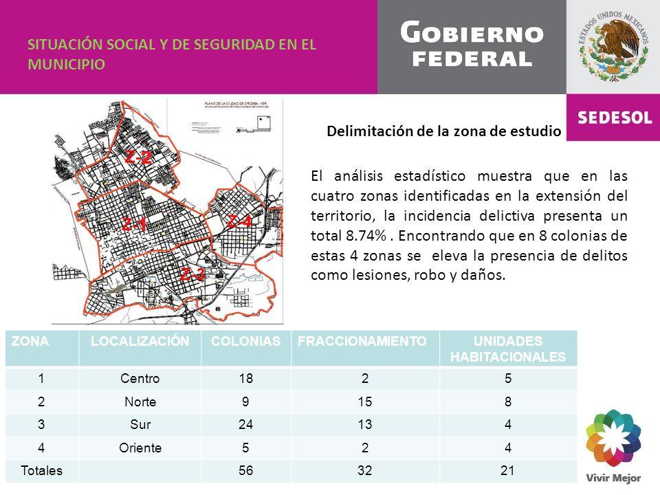 Delimitación de la zona de estudio ZONALOCALIZACIÓNCOLONIASFRACCIONAMIENTOUNIDADES HABITACIONALES 1Centro1825 2Norte9158 3Sur24134 4Oriente524 Totales563221 SITUACIÓN SOCIAL Y DE SEGURIDAD EN EL MUNICIPIO El análisis estadístico muestra que en las cuatro zonas identificadas en la extensión del territorio, la incidencia delictiva presenta un total 8.74%.