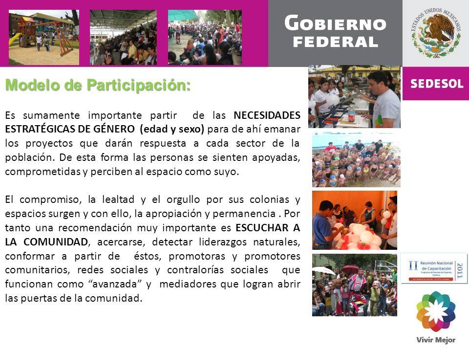 Modelo de Participación: Es sumamente importante partir de las NECESIDADES ESTRATÉGICAS DE GÉNERO (edad y sexo) para de ahí emanar los proyectos que darán respuesta a cada sector de la población.