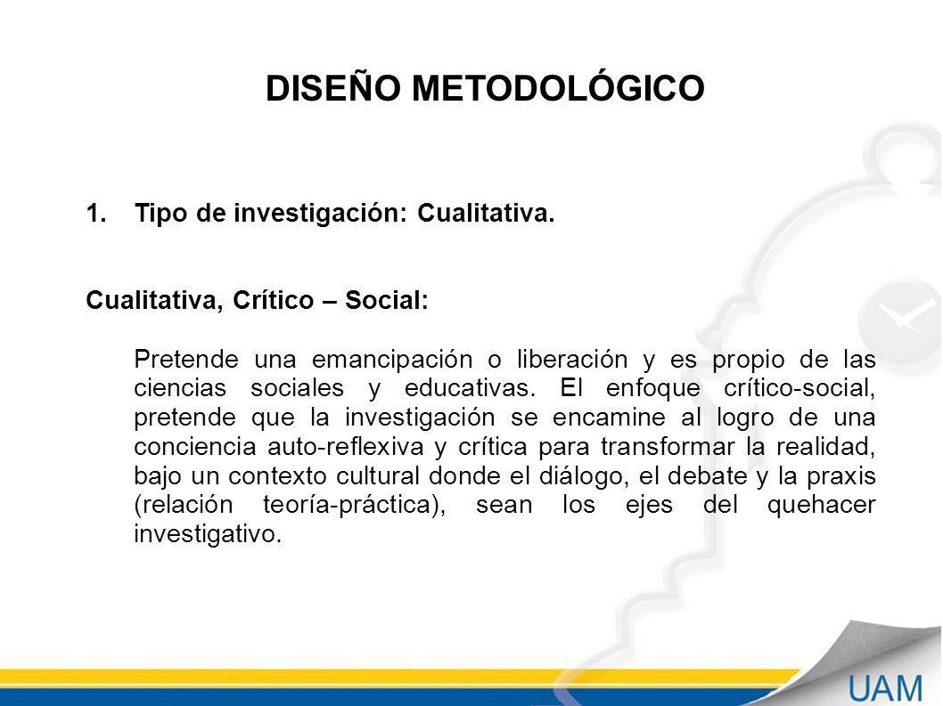 DISEÑO METODOLÓGICO 1.Tipo de investigación: Cualitativa.