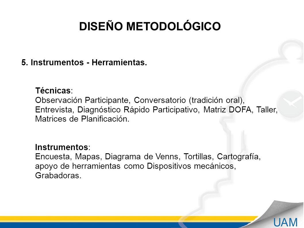 DISEÑO METODOLÓGICO 5.Instrumentos - Herramientas.