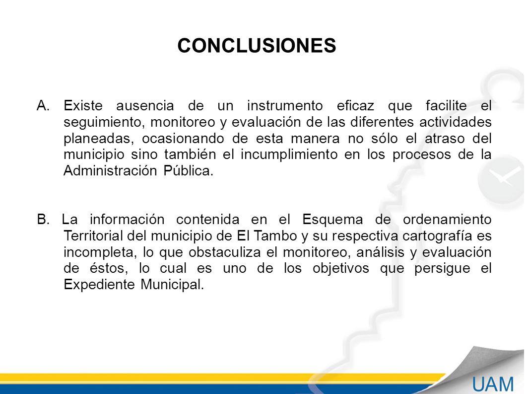 CONCLUSIONES A.Existe ausencia de un instrumento eficaz que facilite el seguimiento, monitoreo y evaluación de las diferentes actividades planeadas, ocasionando de esta manera no sólo el atraso del municipio sino también el incumplimiento en los procesos de la Administración Pública.