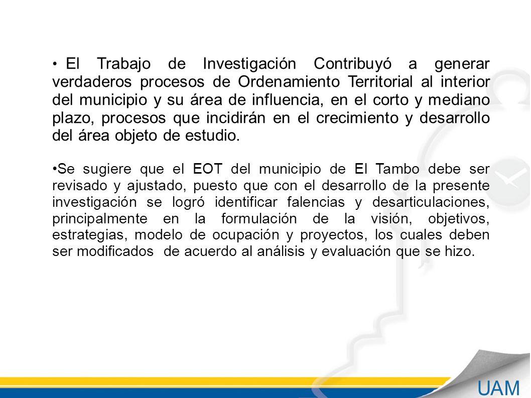 El Trabajo de Investigación Contribuyó a generar verdaderos procesos de Ordenamiento Territorial al interior del municipio y su área de influencia, en el corto y mediano plazo, procesos que incidirán en el crecimiento y desarrollo del área objeto de estudio.